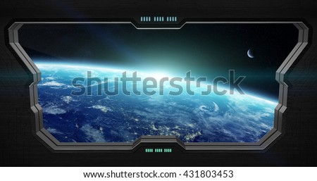 Window view of space from a space station 'elements of this image furnished by NASA' '3D rendering'