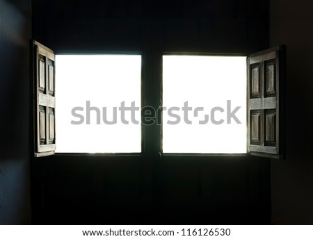 Window view white isolated. Two opened windows - stock photo