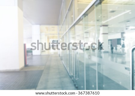 Window wall in modern building, exhibition centers, motion blur