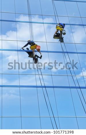 Window Washers - stock photo