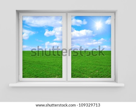 Window with Beautiful Landscape Behind