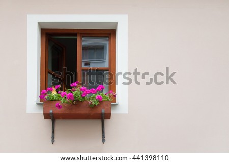 Window with brown frame and a beautiful pink and white flowers on the sill on the background of the pink wall