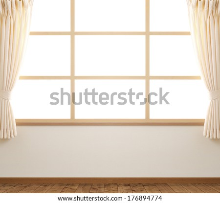 window with curtain - stock photo