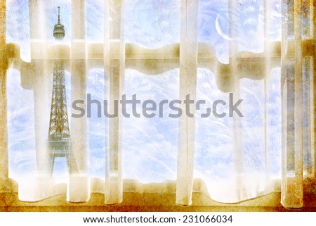 Window with curtains, frosty pattern on winter glass and eiffel tower at magic moon light background.  - stock photo