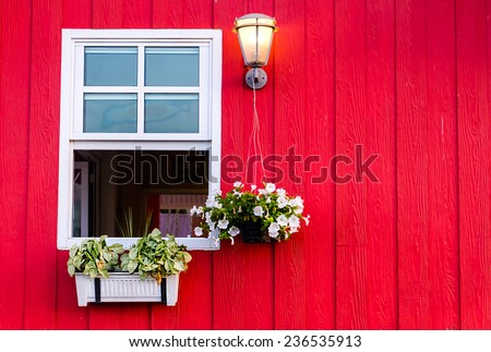 Window with Open Wooden Shutters, Decorated With Fresh Flowers
