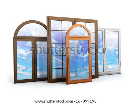 window with reflections of the sky (done in 3d) - stock photo