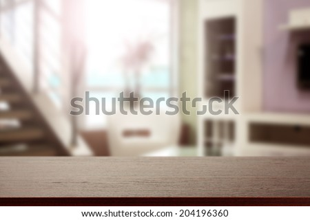 window with sun and desk of free space  - stock photo