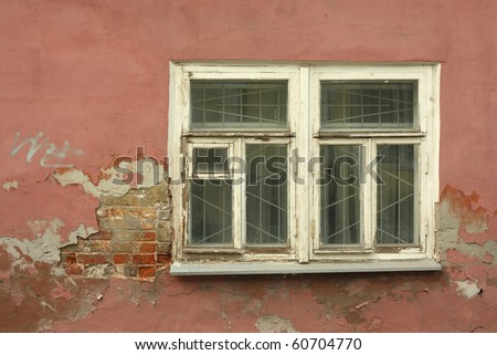 Window with the red wall texture and background