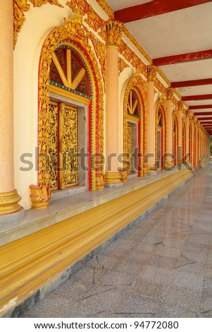 Windows and doors of the temple in Thailand.