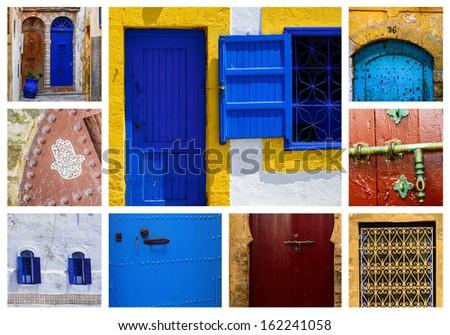 windows and doors oriental in the medina - stock photo