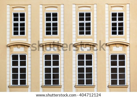 windows and facade of Prague Castle - detail, Czech Republic, Europe