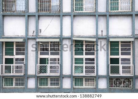 Windows and walls of the old building