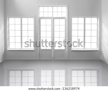Windows and white door on white - stock photo