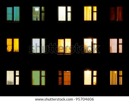 Windows at night. House building lights seamless background - stock photo