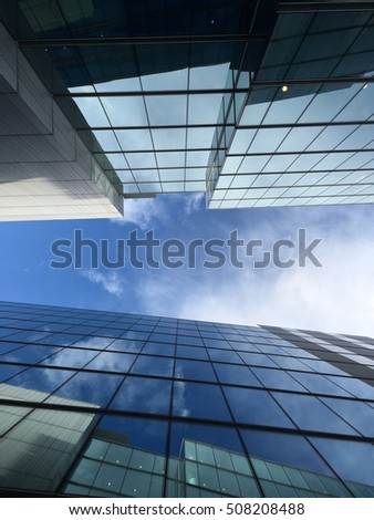 Windows building and blue sky and reflecting