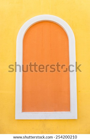 Windows created by the cement wall, wall art. - stock photo
