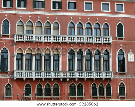 Windows creating a unique atmosphere of Venice - stock photo