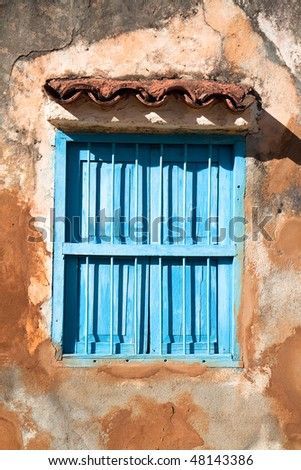 Windows, Detail of facade from vintage colonial building in Trinidad, Cuba - stock photo