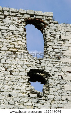 Windows in ruined medieval castle in Ogrodzieniec, Poland - stock photo