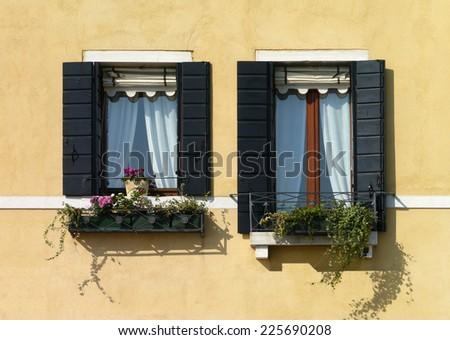 windows in venice, Italy - stock photo