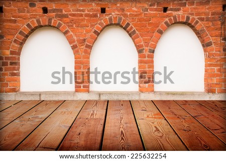 windows interior vintage with brick wall, wood floor and white blank placard background  - stock photo