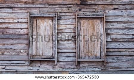 Windows made of old wood, old wood textures backgrounds, abstract backgrounds.