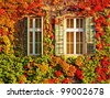Windows of a house in Budapest at autumn - stock photo