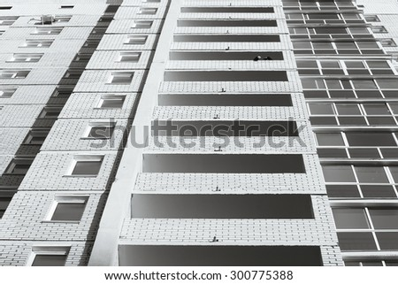 windows of a modern building, residential building - stock photo