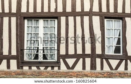 Windows of a timber frame building in Lyons la foret, eure, upper normandy, France - stock photo