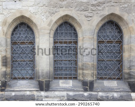 Windows of ancient renaissance style - stock photo