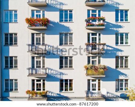 Windows of modern apartment - stock photo
