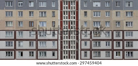 Windows of multistory home in a row, view from front  useful as background