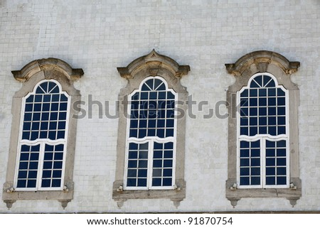 windows of old church nosso senhor do bonfim in historical place in bahia brazil - stock photo
