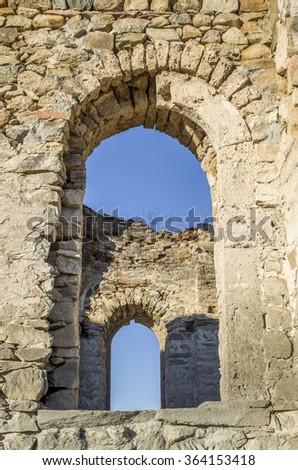 Windows of ruined small church, Bulgaria, Europe