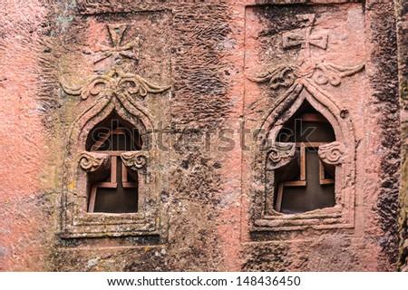 Windows of the monolitic rock cut church, Lalibela, Ethiopia - stock photo