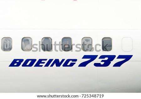 Windows White Airplane Boeing 737 Russia Stock Photo Image