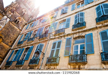 Windows of typical basque house in Bayonne, France - stock photo