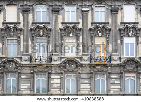 Windows on the facade in neo-baroque style. Budapest, Hungary. - stock photo