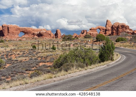 Windows Section Arches in Arches National Park, Utah, USA - stock photo