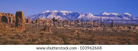 Windows Section, Arches National Park, Moab, Utah - stock photo
