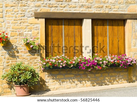 Windows with flower box in France - stock photo