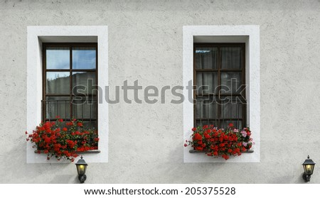 Windows with geraniuum - stock photo
