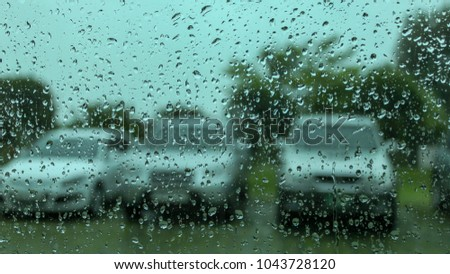 Windows with raindrops