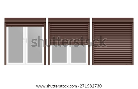 Windows with Rolling Shutters. Isolated on white background. Raster version