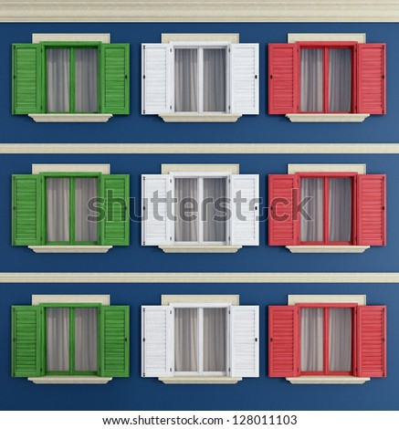 windows with the colors of the Italian flag - rendering