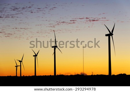 Windpark on the island of Madeira, Portugal - stock photo