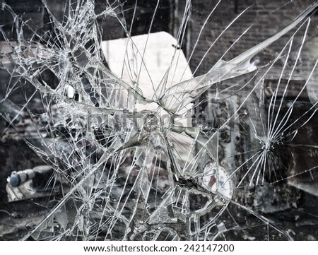 windshield broken - stock photo
