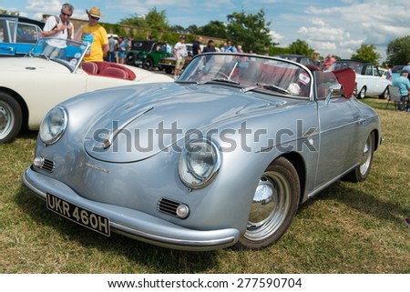 WINDSOR, BERKSHIRE, UK- AUGUST 3, 2014: A Blue Porsche 356 Speedster on show at a Classic Car Show in August 2013. - stock photo