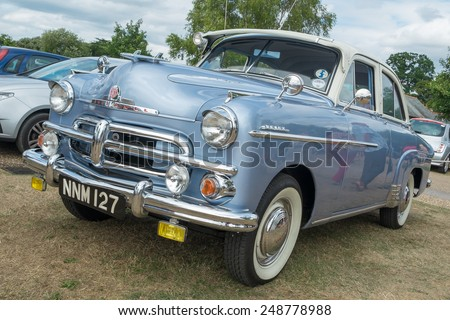 WINDSOR, BERKSHIRE, UK- AUGUST 4, 2013: A Blue Vauxhall Wyvern Classic car on show at Windsor Farm Shop International Classic Car Show in August 2013 - stock photo