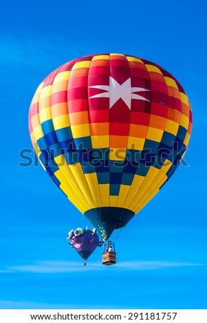 Windsor, CALIFORNIA/UNITED STATES - JUNE 20, 2015: 25th Sonoma County Hot Air Balloon Classic photographed on June 20, 2015 in Windsor, Keiser Park, in Sonoma Wine Country.